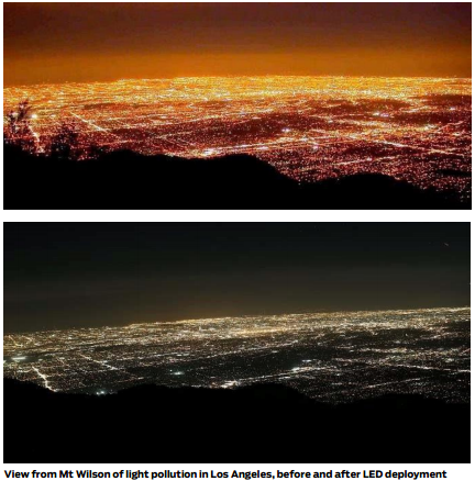 View of LA light pollution before and afer introduction of LED